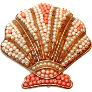 LC Liz Claiborne Coral Seed Cabochons Sea Shell Pin