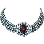 Four Strand Rhinestone Choker Necklace with Large Topaz Center