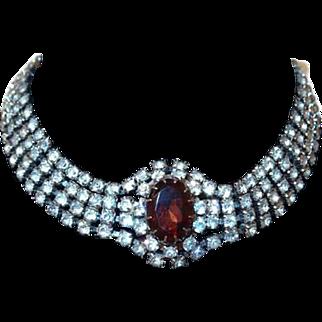 Four Strand Rhinestone Choker Necklace with Large Topaz Center