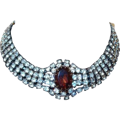 Four Strand Rhinestone Choker Necklace With Large Topaz