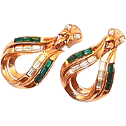 Rare 1953 Trifari Green Baguette Earrings by A. Philippe