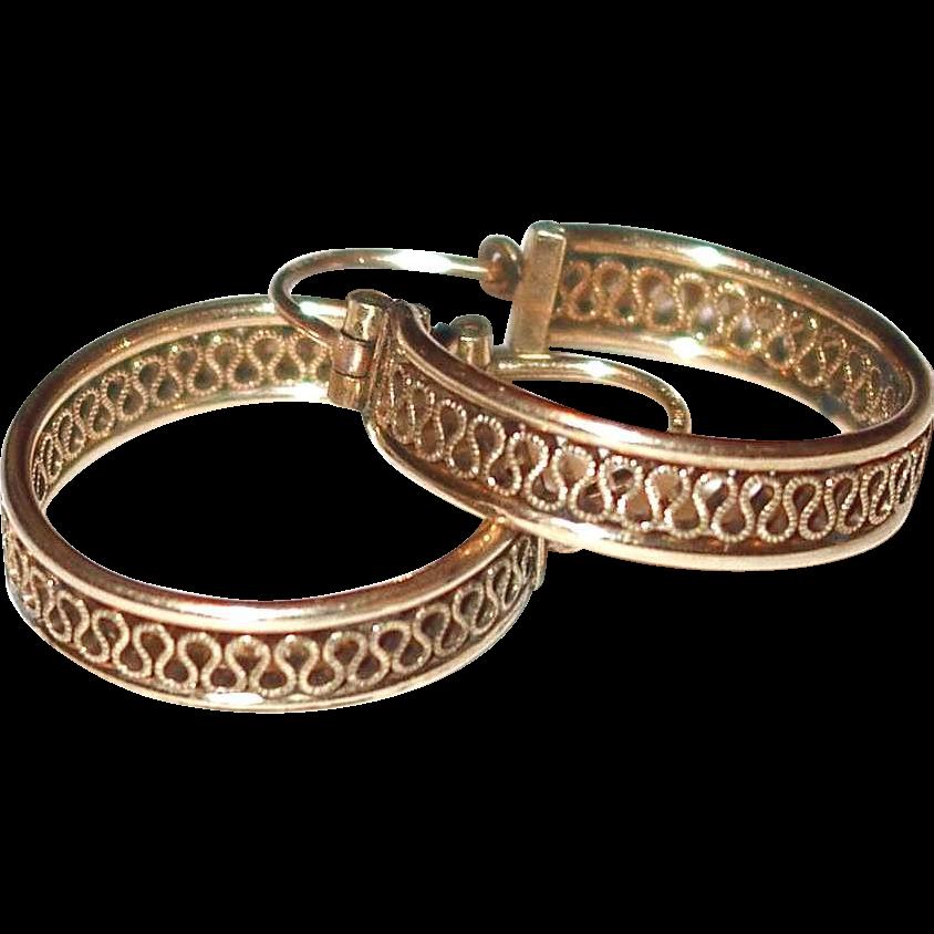 basket weave 14k yellow gold hoop earrings from