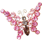 Pink and Smoke Sparkling Rhinestone Butterfly Pin