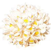 Soft Plastic Flower Cluster Pin White with Yellow Center Beads