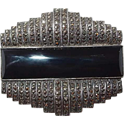 Art Deco Sterling Onyx Marcasite Brooch Book Piece