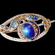 Art Nouveau Blue Enamel Pomegranate or Apple Fruit Pin