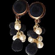 Cluster Dangle Earrings Black Velvet Faux Pearls