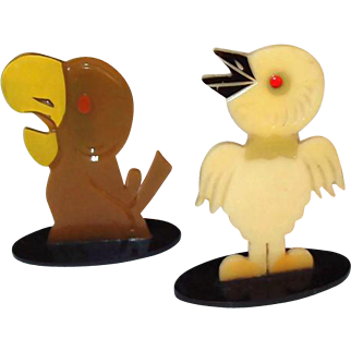 Art Deco Painted Celluloid Bird Game Tokens