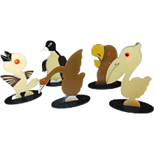 Celluloid Animal Figures Birds of a Feather Flock Together