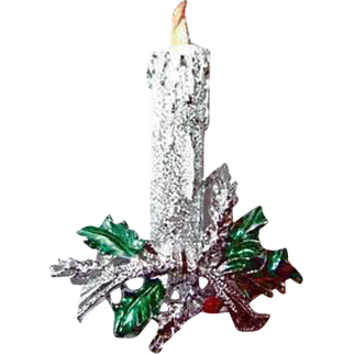 Vintage Gerrys Christmas Candle and Holly Pin