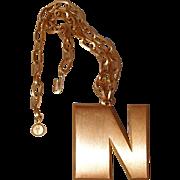 Crown Trifari Brushed Metal Initial N Necklace