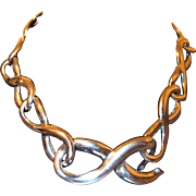 Silver-tone Large Link Chain Figure Eight Necklace