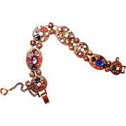 Slide Bracelet with Enameled Heart Motif Cabochons and Rhinestones