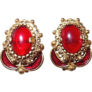 Regal Red Enamel and Cabochon Gold-tone Clip Earrings