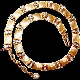 Brushed Gold-tone Link Trifari Rhinestone Necklace