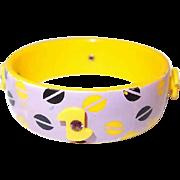 60s Yellow Plastic Bangle Rhinestone Adornments Violet with Pop Art