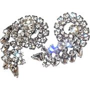 Multiple Cut Rhinestone Party or Special Occasion Earrings Angle Hand Set Pronged for Shine