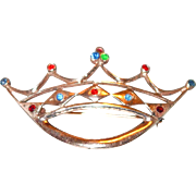 Sterling Crown Pin with Gold Wash and Rhinestones
