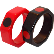 Vintage Octagon Red and Black Polka Dot Bakelite Bangle Set
