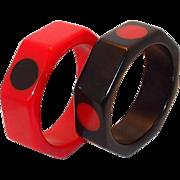 Vintage Octagon Red and Black Polka Dot Bakelite Bangle Set