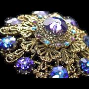 Purple Blue Peacock Crystal Margarita Stone Domed Brooch