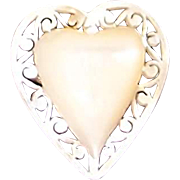 Thick Hand Carved Heart Mother-of-Pearl Pin for Valentines Day