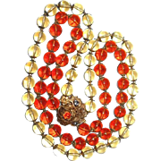 Miriam Haskell Thistle Motif Two-Tone Glass Necklace