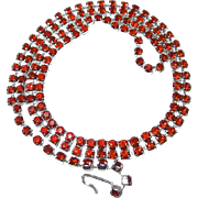 Hard to Find Silvertone Red Rhinestone Necklace for Valentines Day