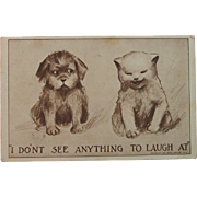 Antique Puppy and Kitten Comic Postcard with Note that is just as Sweet