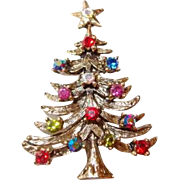 Vintage Eisenberg Ice Christmas Tree Pin with Multicolor Rhinestones