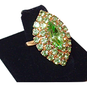 Vintage Large Peridot Green Rhinestone Ring; Vogue 2016 Runway Fashion