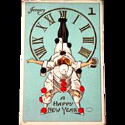Pierrot New Year Postcard, Series 550