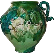 Majolica Pottery Pot Decorative Three Dimensional Greens Pink