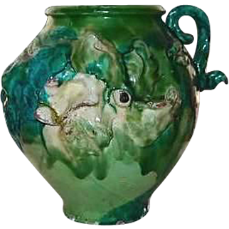 Majolica Pottery Pot Decorative Three Dimensional Greens Pink