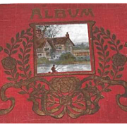 Antique Art Nouveau Postcard Album with Scenic Postcards
