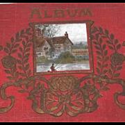 Antique Art Nouveau Postcard Album with Scenic Postcards