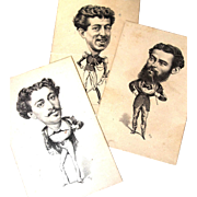 Small Lithograph Postcards of 3 Men in Character Costume, Vanity Fair 1874