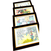 Four Framed Prints of Children (Girls) by Swedish Artist Carl Larssen