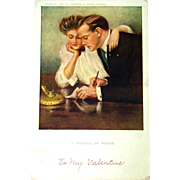 Problem with Income 1907 Valentine Postcard, Underwood - Comical