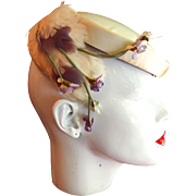 Ivory Silk Schiaparelli Paris Hat with Feathers and Violets in Original Hat Box