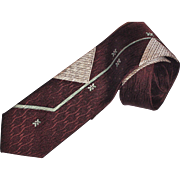 Abstract Brown and Blue Necktie