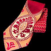 1940s Wide Maroon Pattern Necktie
