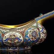 MASSIVE Antique Russian Silver and Cloisonne Enamel Kovsh