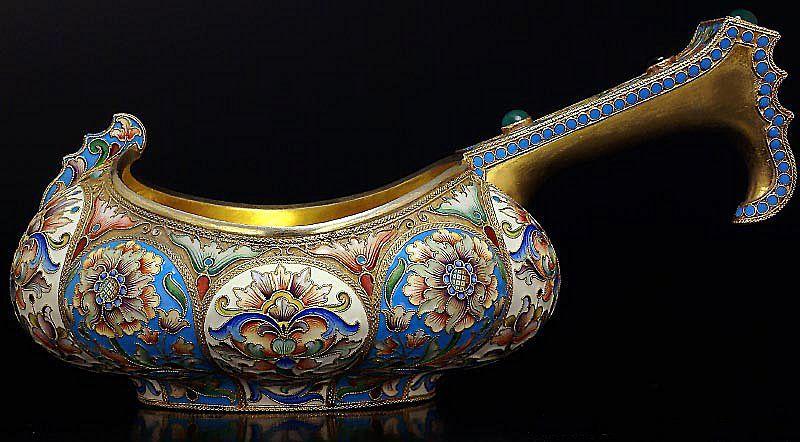 MASSIVE Antique Russian Silver and Cloisonne Enamel Kovsh