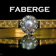 FABERGE Etruscan Revival Antique Jeweled Gold Bangle Bracelet
