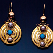 Victorian Era Antique Russian Gold, Turquoise And Pearl Earrings