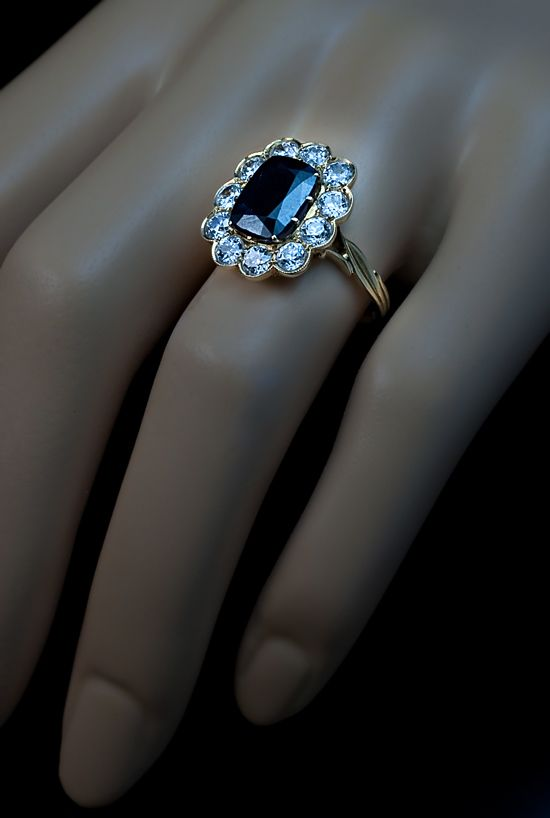Antique Sapphire and Diamond Engagement Ring from romanovrussia on
