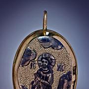 Antique Russian Silver-Gilt and Niello Reliquary Pendant