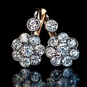 3.5 CT Vintage Diamond Cluster Earrings, Russian