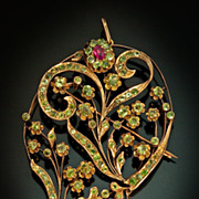 Art Nouveau Russian Demantoid Rose Gold Pendant Brooch